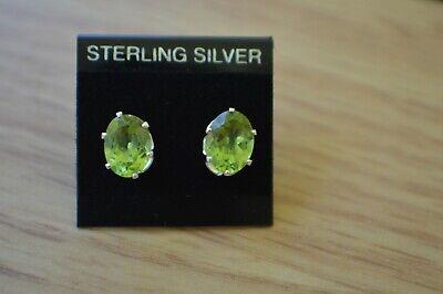 Genuine Peridot 0.96ct 6x4mm Oval Stud 925 Sterling Silver Earrings