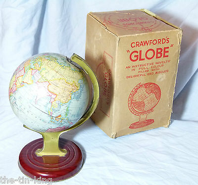 """SUPERB NEAR MINT RARE BOXED VINTAGE CRAWFORDS BISCUITS TIN """"GLOBE"""" 1938"""