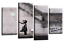 """BANKSY CANVAS WALL ART PICTURE GIRL WITH BALLOON YELLOW GREY 4 PANEL 44/""""x 27/"""""""