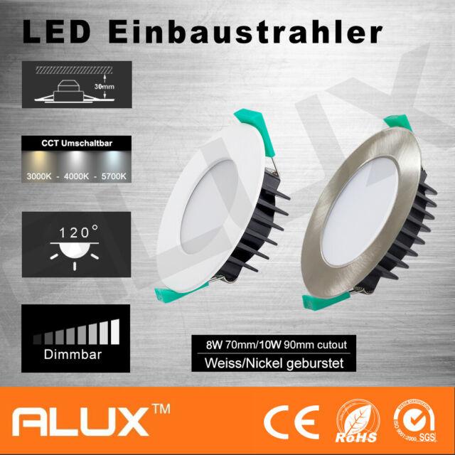 8W/10W LED Einbaustrahler Dimmbar set CCT Deckenleuchte Flach Rund IP44 230V