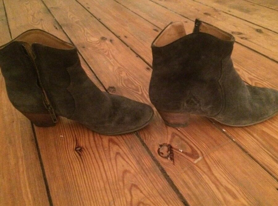 Original ISABEL MARANT Ankle Stiefel Dicker Veloursleder grau 39