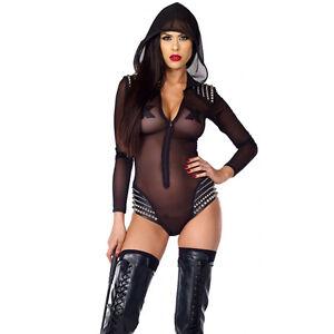 b8bee7926 ight Party Lingerie Fishnet Punk Chiffon Sexy Woman Black Hoodies ...