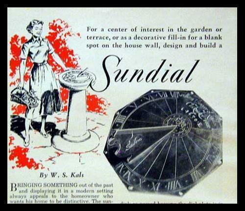 Sundial How-To Design/Build Horizontal & Vertical 1954 PLANS