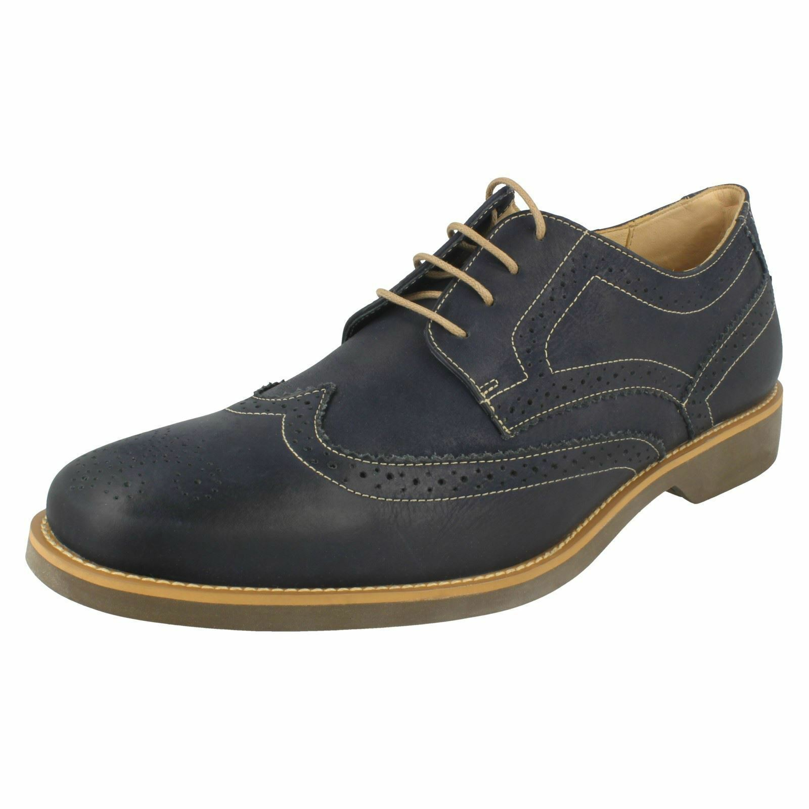 Mens Anatomic Navy Vintage Leather Lace Up Brogue Shoes Tucano 565626