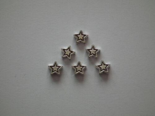 10 50 o 200 pequeñas Estrella de Plata Espaciador Granos 6mm SCF12