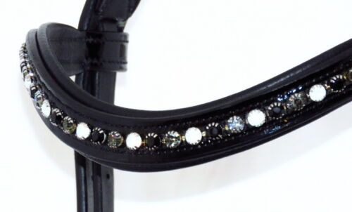 FSS CHROME DAZZLE 6mm Crystal BLING U Curve PATENT Browband WHITE OPAL JET GREY