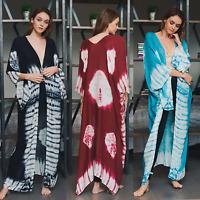 Boutique Tie Dye Long Kimono Wrap Swim Cover Beach Gypsy Boho Duster 3 Color