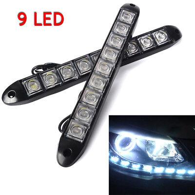 2X 12V 9 LED Daytime Running Light DRL Car Fog Day Driving Head Lamp Lights NEW