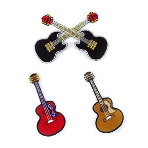 Embroidered-Iron-On-Patch-mixed-Guitar-Music-Cute-Decor-Fabric-Sew-Craft-DIY