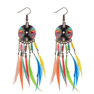 Bohemian Boho Style Multi-color Beads&Feathers Tassel Dangle Women Earrings