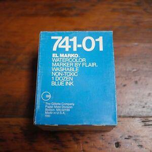 Lot of 12 NEW Vintage Gillette EL MARKO 741-01 Watercolor BLUE Ink MARKERS