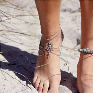 Foot-Chain-Barefoot-Bracelet-Anklet-Turquoise-Boho-Jewelry-Ankle-Sandal-Beach