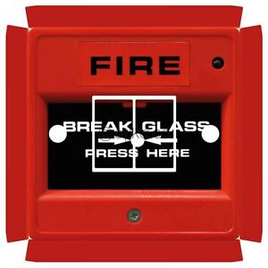 Details about Fire Break Glass Switch Sticker for Crabtree 4172 Double with  Holes