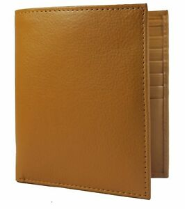 Tan  Leather Cowhide Leather Credit Card Holder Bifold Hipster European Wallet
