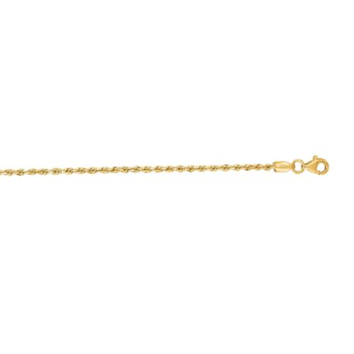 """10K Solid Yellow Gold Rope Chain DC Anklet Ankle Bracelet 10/"""" Inch 2.0mm"""