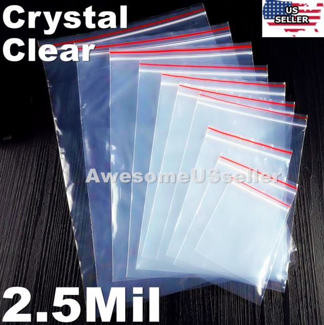 1.5 x 1.5 300 CT Resealable Mini Zipper Polly Bags 2 Mil Clear