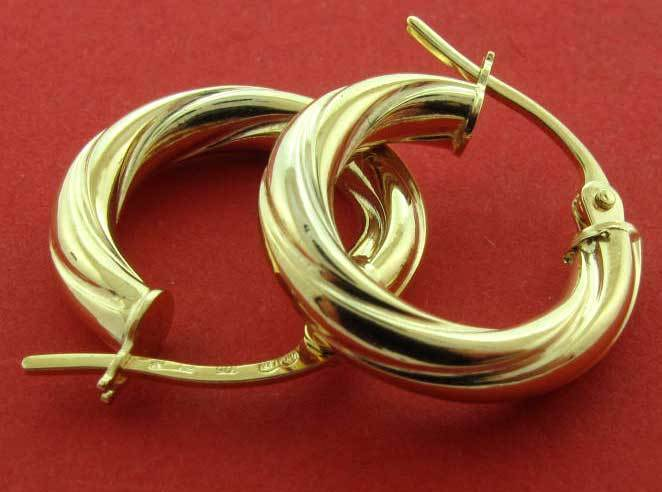 9CT gold HOOP EARRINGS ROUND 15X3MM CABLE TWISTED TUBE WIRE CREOLE SLEEPER BOXED