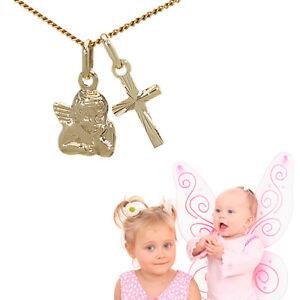 Baby Taufe Kinder Diamant Kommunion Kreuz Anhänger Gold 585 mit Kette vergoldet