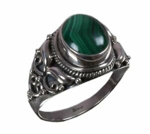 Handmade-925-Solid-Sterling-Silver-Ring-Natural-Malachite-Stone-US-Size-7-R1233