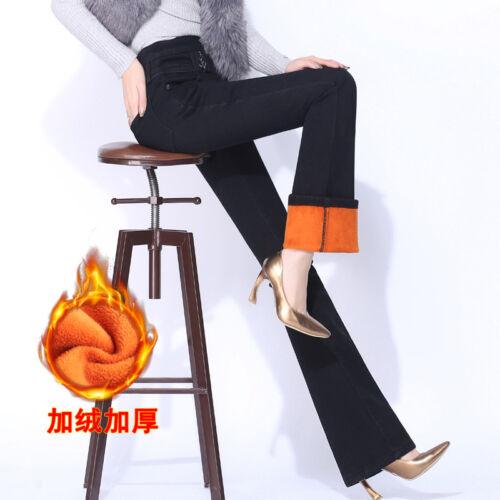 Womens Fleece Lined Bootcut Jeans Flare Bell Bottom Denim Pants Warm Trousers