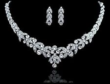 Wedding Bridal Austrian Crystal Necklace Earring Jewellery Set Party Prom Formal