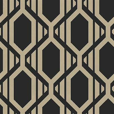 SH34549 - Shades Geometric Black Gold Galerie Wallpaper