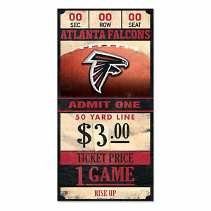 Atlanta-Falcons-Old-Game-Ticket-Holzschild-30-cm-NFL-Football-Wood-Sign