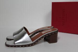 7bbdd249bd9 Details about sz 8.5   39 Valentino Rockstud Silver Metallic Leather Sandal  Block Heel Shoes
