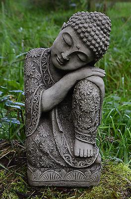 SLEEPING WELSH BUDDHA Statue Hand Cast Stone Garden Ornament Koi ⧫onefold-uk