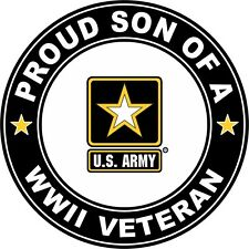 """Proud Son of a US Army WW II Veteran 5.5"""" Sticker 'Officially Licensed'"""