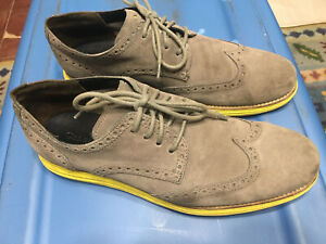 mens-COLE-HAAN-gray-lunargrand-wing-tip-suede-oxford-shoes-10-5-M