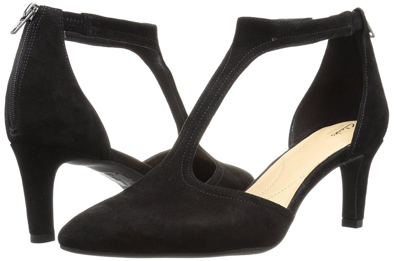 Wouomo  scarpe Clarks CALLA LILY T Strap Pointy Toe Pumps 32133 nero Suede New   incentivi promozionali