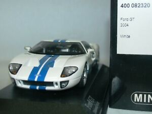 Wow extrêmement rare Ford Gt43 Gt40 550hp 2004 rayures bleues blanches 1:43 Minichamps