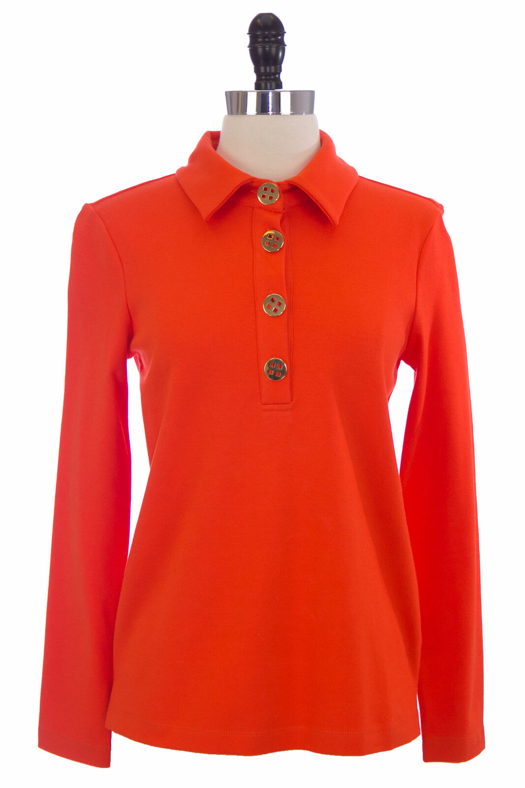 Elizabeth Mckay Orange Baumwollmischung Langärmlig Polohemd 7053 Nwt