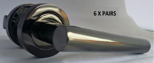 Stylish Black Nickle T BAR DOOR HANDLES on Round Rose STRAIGHT HANDLE Knobs D3