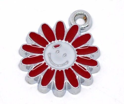 16 x 13mm SAME DAY POSTAGE 8 x SMILEY FACE FLOWER RED PETALS