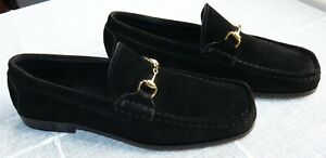 GUCCI-black-SUEDE-LOAFERS-with-gold-horse-bit-size-US-8-5-B-UK-5-5-It-38-5