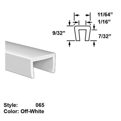 Food-Grade Nylon Plastic U-Channel Push-On Trim, Ht. 9 32  x Wd. 11 64  - 25 ft