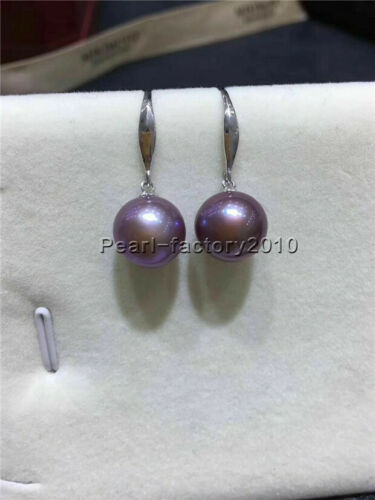 TOP AAAA natural 9-10MM  south sea Purple pearl earrings 18K GOLD