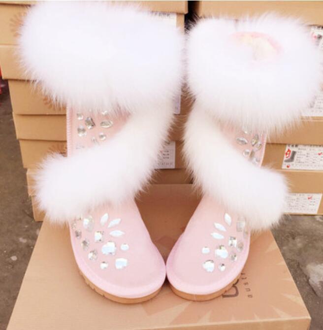 Diamantes de imitación de ante ante ante para mujer de lujo piel verdadera botas para Nieve Mitad de Pantorrilla Zapatos botas De Invierno 7 7d49e1