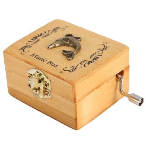 Vintage Wooden Music Box Metal Decoration Hand Crank Music Box Small Craft Gift