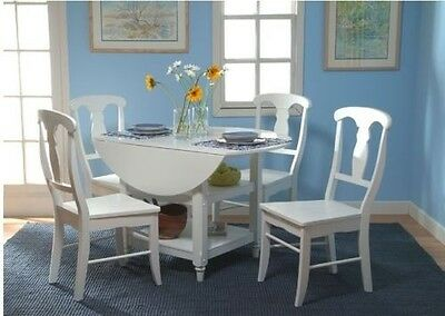 Country White 5 Piece Cottage Kitchen Dining Room Set Drop Leaf Table Furniture