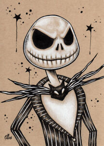 Details About Nightmare Before Christmas Jack Skellington Drawing Art Print Halloween Signed