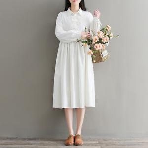 New-Women-Cotton-Linen-A-Line-Pleated-Shirt-Dress-High-Waist-Long-Sleeve-Vintage