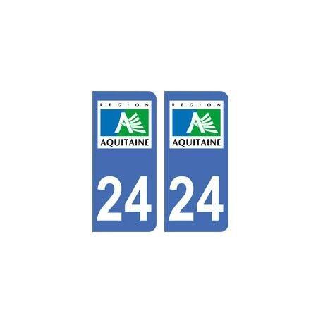 24 Dordogne autocollant plaque -  Angles : droits