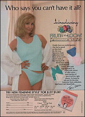 1990 Fruit of the Loom Underwear Vintage PRINT AD Page TERI GARR in Pink Panties