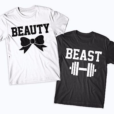 Bellezza E Bestia Coppie Tshirts Divertenti Novità Palestra Carino Cappelli Coordinati-mostra Il Titolo Originale