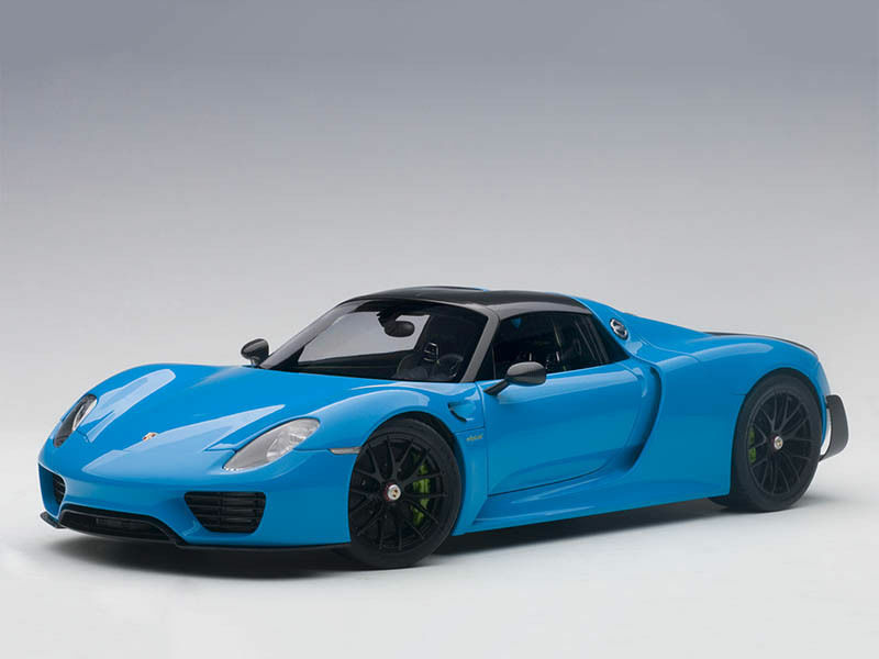118 Autoart 77924PORSCHE 918 SPYDER Weissach package 2013 Riviera blu