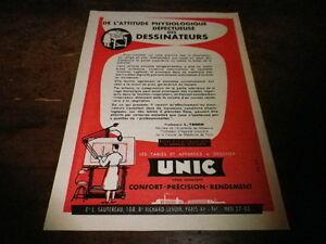 UNIC-TABLES-A-DESSINER-Publicite-de-presse-Press-advert-1956