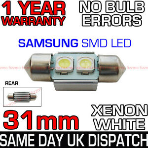31mm-3-SAMSUNG-SMD-LED-269-C5W-SV8-CANBUS-NO-ERROR-WHITE-NUMBER-PLATE-LIGHT-BULB